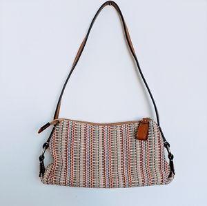 Fossil Multi color woven canvas mini shoulder bag